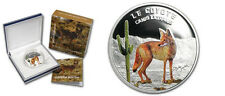 2013 Niger 1000 Francs Color Silver Proof  Coyote/Cactus -mintage 1000-Box