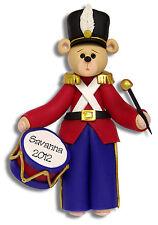 Belly Bear DRUMMER Boy HANDMADE POLYMER Personalized CHRISTMAS Ornament Deb & Co