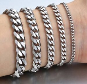 Mens 18-25cm Stainless Steel Silver Curb Link Chain Bracelet Thick 10/8/6/4/3mm