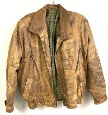 """Vintage Echtes Leder Brown Distressed bomber Leather jacket 80s-90s XL 52"""" Chest"""