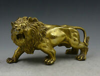 China fengshui Decorated Handwork Brass Carved Fierce Lion Roar Elegant Statue