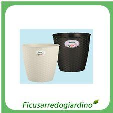 STEFANPLAST VASO PLASTICA VASI EFFETTO RATTAN Bianco - cm. �29xH26 - 100334