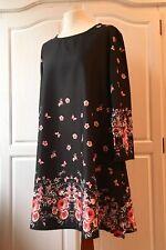 Top Kleid 36 38 S Tunika Rot Pink Boho Coachella Stiefelkleid Schwarz Blumen NEU