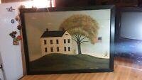 Huge Warren Kimble Folk Art Framed Picture,house,tree,flag,vg!