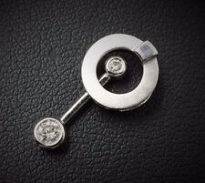 Modern Brushed 14k White Gold Diamond Articulated Bar Pendulum Pendant PG536