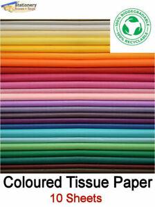 10 LARGE Sheets Tissue Paper ACID FREE Biodegradable & Recyle 50x75cm 20 Colours