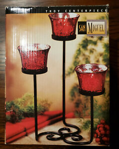 New San Miguel Red Mercury Glass Votive Candle Holders Set of 3