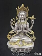 8''Tibetan Silver gold plating carved lotus buddhism Shadakshari Avalokitesvara
