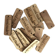 100Pcs Handmade Tag Label Wooden Buttons 2 Holes for Clothing Sewing Crafts
