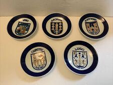 "Sargadelos Castro Spain 5 Small White & Blue Porcelain Wall Hanging Plates 4.7"""