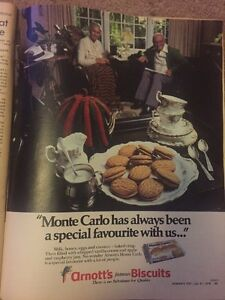 AUSTRALIAN Vintage Advertising ARNOTTS Monte Carlo Biscuits 1970s Original Print