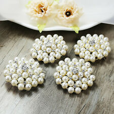 Wholesale 10pcs Clear Pearl Crystal Rhinestone Brooch Pin Bridal Wedding Bouquet