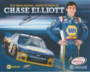 2015 Chase Elliott signed Napa Auto Parts Chevy Camaro NASCAR Xfinity Hero Card