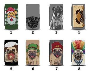 Pug Dogs Flip Wallet Case Dog Pugs Santa Funny Fancy Dress Picture Pet 8062