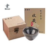 Metal JianZhan Tea Cup Tenmoku Ancient Ceramic Oil Spot Japanese Matcha Bowls US