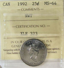 Canada 1992 NWT 25 Cent Nickel Coin ICCS MS-64