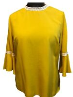 Womens Ladies Mustard Top 3/4 Flute Sleeves Lace choker collar UK Sizes 12-14-16