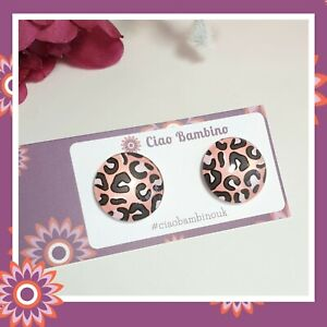 Pink Leopard Print Stud Earrings Statement Large Jewellery Animal Gift