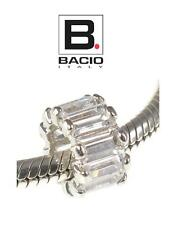 Genuine BACIO ITALY 925 sterling silver & CZ BAGUETTE charm bead