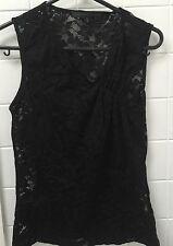 NZ Designer Kate Slyvester Size S Black Lace Stretch Singlet Top Tank Cami EUC