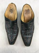 Womens CHARLIE 1 HORSE by Lucchese Western Black Embroidered Boots Mules 8 B SB4