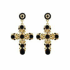 Women Vintage Style Luxury Crystal Gold Cross Large Long Dangle Earrings Fashion