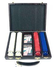 Texas Hold'em Poker Set 2 Deck Cards 200 Chips Wood Case Cardinal Professional
