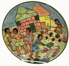 "Zimbabwe Art Pottery, Folk Art  7 5/8"" Plate 'At Home', Signed by Lizzie,1998"
