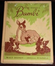 Walt Disney BAMBI 1944 Vintage Story Book DC Heath Hardcover Animation Reader