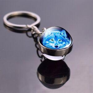 Wolf Keychain Glass Ball Pendant Jewelry Fashion Keyring For Women Men Gift New