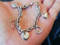Bracelet avec charms coeurs en argent massif rhodié et zirconium