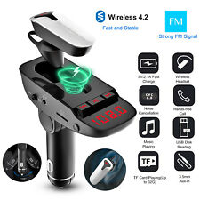 Car Fm Transmitter with Headset Wireless Mp3 Radio Adapter Usb Charger