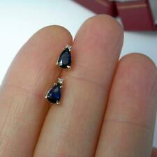 1ct Pear Cut Blue Sapphire Diamond Teardrop Stud Earrings 14k Yellow Gold Over