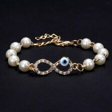 Bracelet Bangle Chain Women Jewelry Lucky Devil Eye Infinity Pearl Turquoise