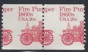 """1908 - 20c Misperf Error / EFO Pair """"Fire Pumper"""" Mint NH (Stk10)"""