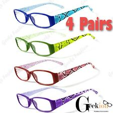 4 Pairs Spring Hinge Womens Fashion Power Clear Retro Reading Reader Glasses 1-3