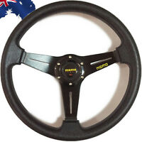 350mm MOMO Car Steering Wheel PU Leather Sport F1 JDM Auto Black VSWHS6800