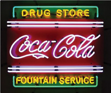 "Coca Cola Drug Store Fountain Service Neon Light Sign 24""x20"" Lamp Beer Bar"