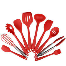 10 pcs Red Silicone Heat Resistant Cooking Kitchen Utensils Tool Accessories Set