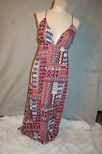 Womens Maxi Dress RED BLUE WHITE ABSTRACT Backless PLUNGE NECK Sexy L 12-14