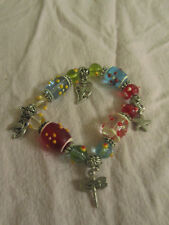 Multicoloured Glass Bead Elasticated Bracelet with Charms