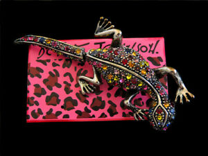 Betsey Johnson Colorful Rhinestone Lizard Gecko Brooch Pin Women's Jewelry