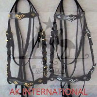AK Baroque Horse bridle portuges leather with silver / golden Hardware With Rein