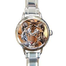 Bengal Tiger Watch Metal Charm Watch Bracelet Big Cat Analog Quartz Battery