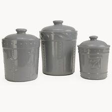 Signature Housewares 3 Piece Sorrento Ceramic Gray Canister Set
