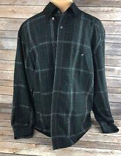 Axis Mens Black Strip LS Button Casual Dress Shirt Size Medium.