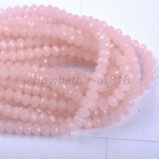 100pcs Pink Opal Czech Crystal Faceted Rondelle Spacer Beads 6X4MM