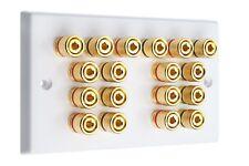 9.0 AV Audio Speaker Wall Plate White Gold 18 Binding Posts