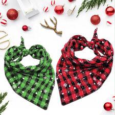 Pet Dog Christmas Bandana Collars Triangular Plaid Neckerchief Snowflake Scarf