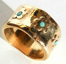 Designer Yellow Gold 24K Plated Slide Ring With Flowers & Turquoise Sz 6.5